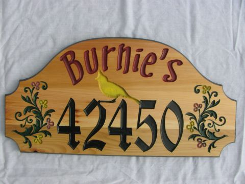 Wooden House address Sign