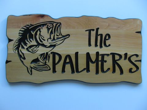 Wooden cottage sign bass fish