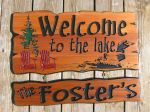 Wooden sign tress chairs loon