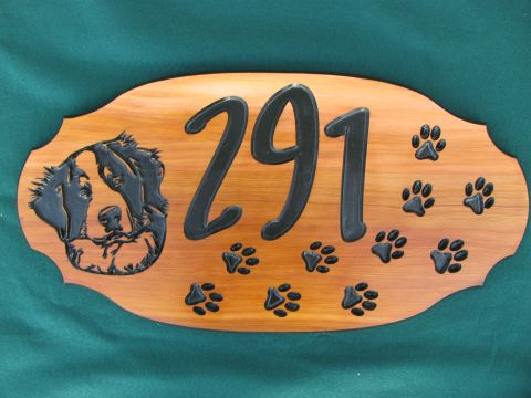 Wood sign engraved dog house address