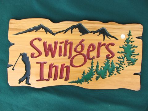 Routered wood sign rustic boarder Swingers Inn