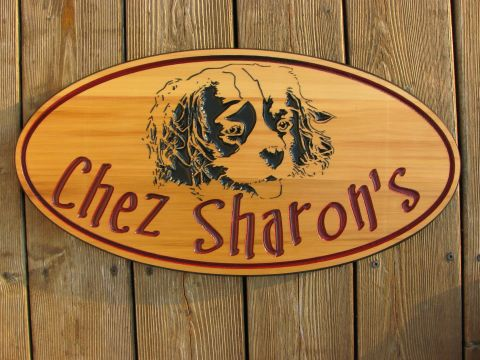 Oval Wooden sign puppy