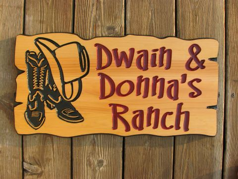 Wooden sign cottage sign cowboy boots