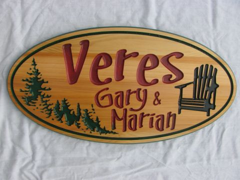 Oval Wooden cottage sign Trees Mascoka chair