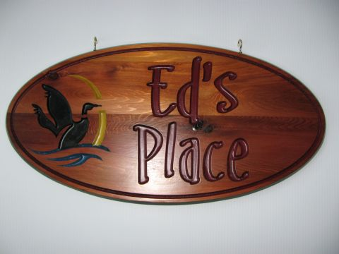 Oval cottage sign loon duck water family name