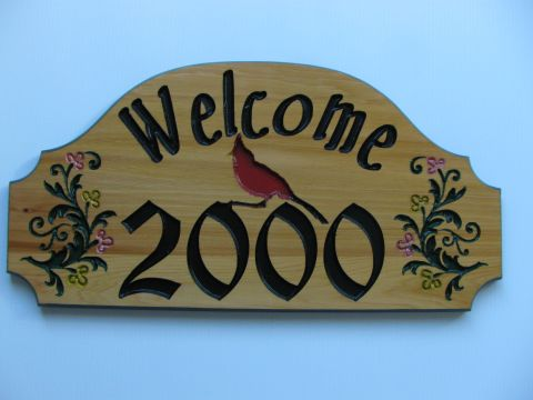 Wooden house address plaque cardenal