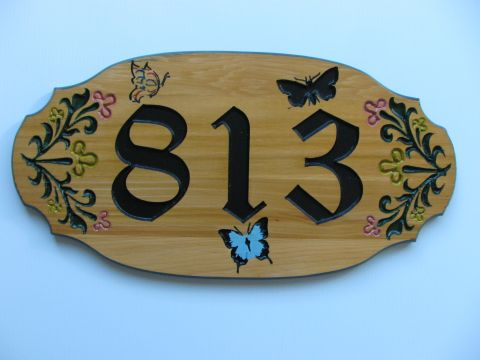 Wood house address plaque butterflies